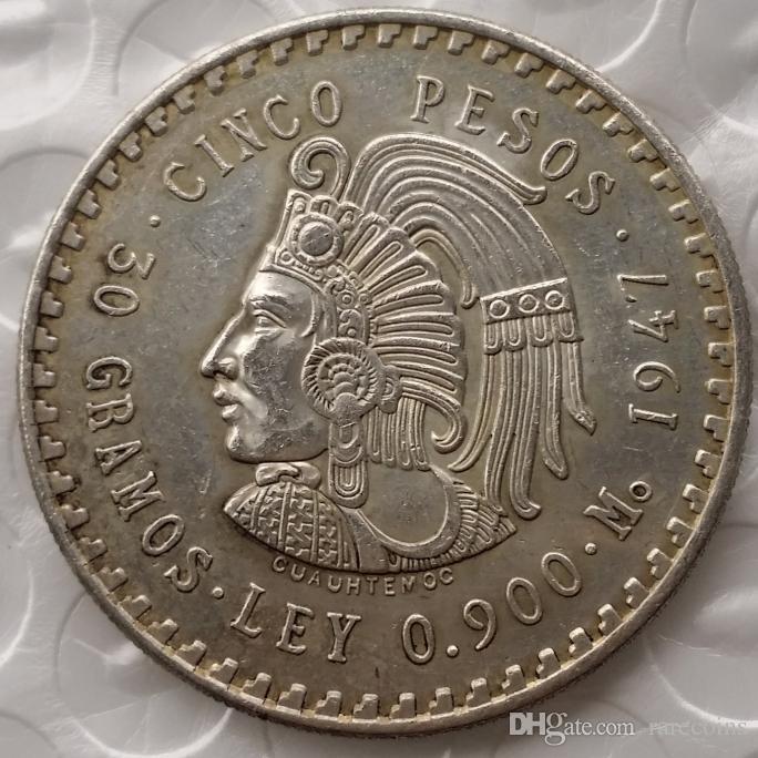 uncirculated 1947 أو 1948 المكسيك 5 بيزو الفضة العملات الأجنبية نسخة عالية الجودة النحاس الحرفية الحلي