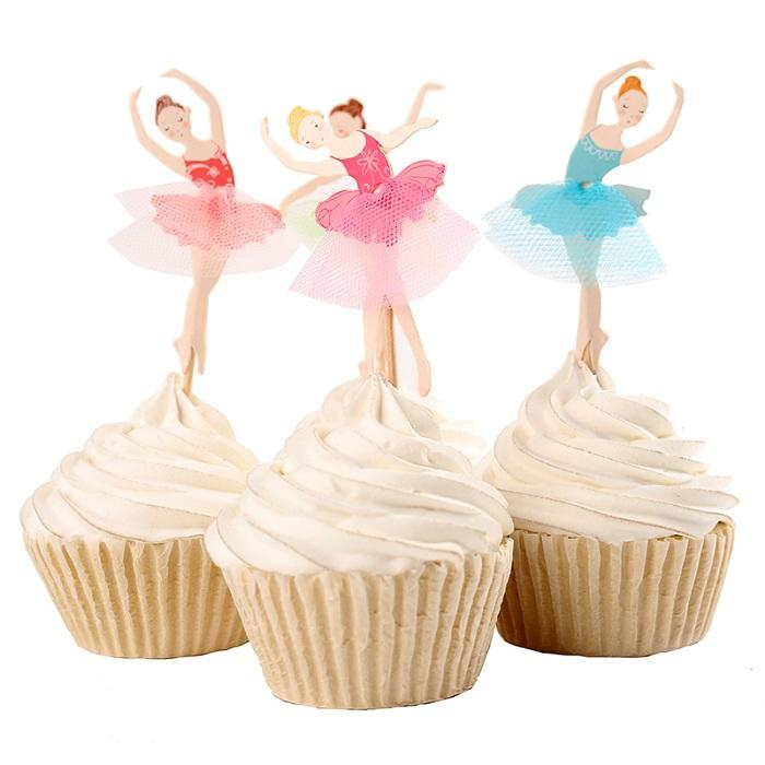 cake toppers dancing girl paper cards banner for Cupcake Wrapper Baking Cup birthday tea party wedding decoration baby shower