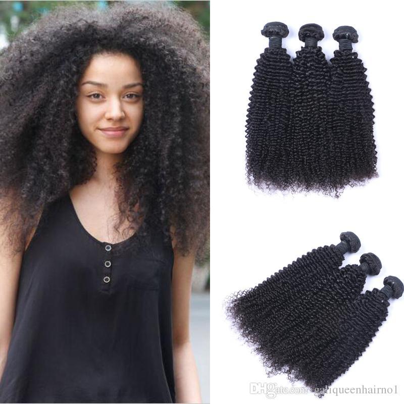 İşlenmemiş Brezilyalı İnsan Remy Virgin Saç Kinky Kıvırcık Saç Saç Uzantıları Doğal Renk 100g örgüleri / paket Çift atkıların 3Bundles / lot