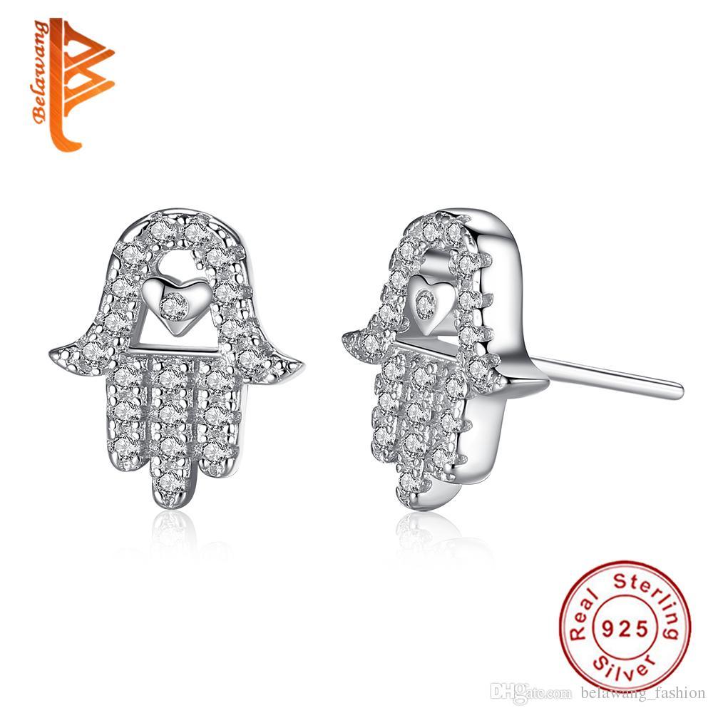BELAWANG 925 Sterling Silver Heart Shape Stud Earrings Clear CZ Forever Love & Palm Hamsa Hand Earring For Women Fashion Jewelry Gift