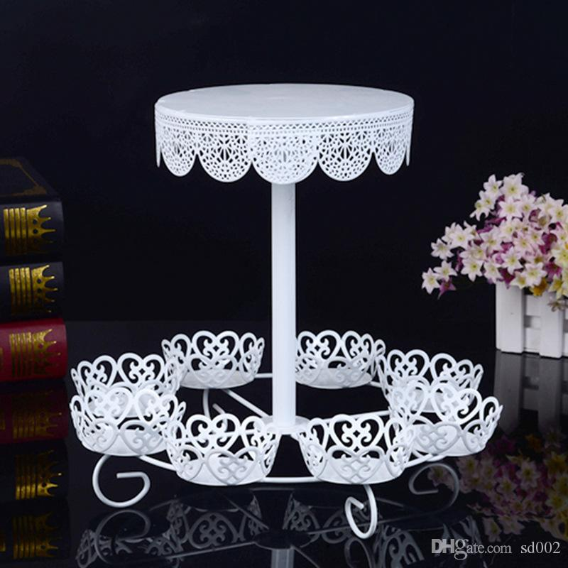 White Lace Wedding Cake Stands Dessert Holders Two Layers Cupcake Rack Durable Metal Iron Sturdy For Birthday Party Decorations 28jd BZ