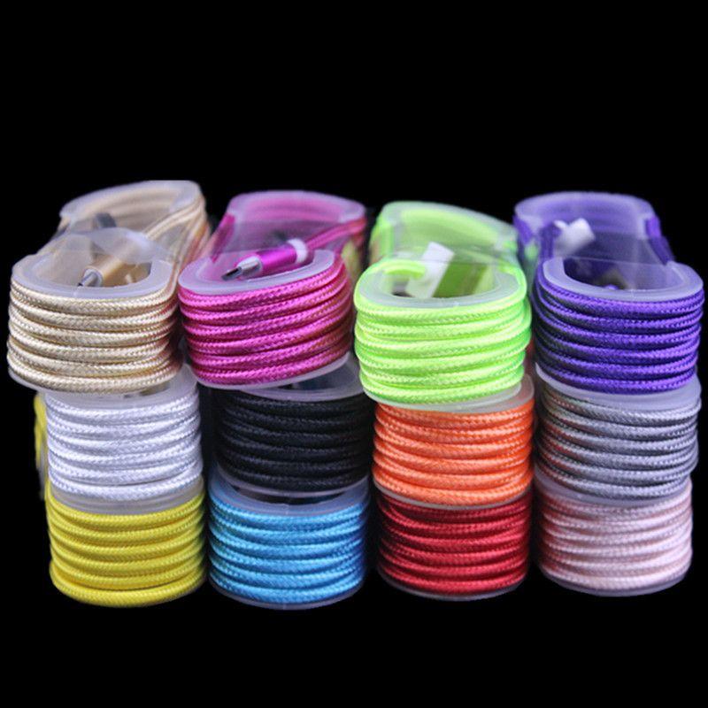 1.5M 5FT 10 Farben Micro 5pinType c USB-Flechtgewebe-Daten-Sync-Ladegerät-Kabel für Samsung s6 s7 s8 plus Android-Handy