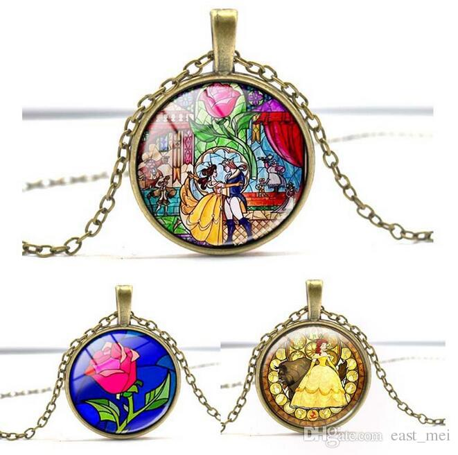 High quality Time Gemstone Necklace Beauty with Beast Kids Jewelry WFN347 (with chain) mix order 20 pieces a lot