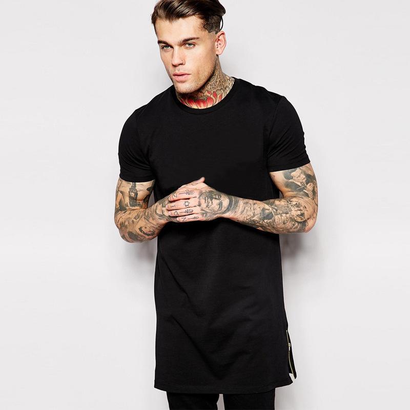 2017 Streetwear Vêtements Homme Shirt Happe Shirt T-shirt T-shirt Zipper T-shirt T-shirt T-shirt Blanc FL Tops Tops T Hommes Sans Split Tall BMTX06 Long Ixtrp