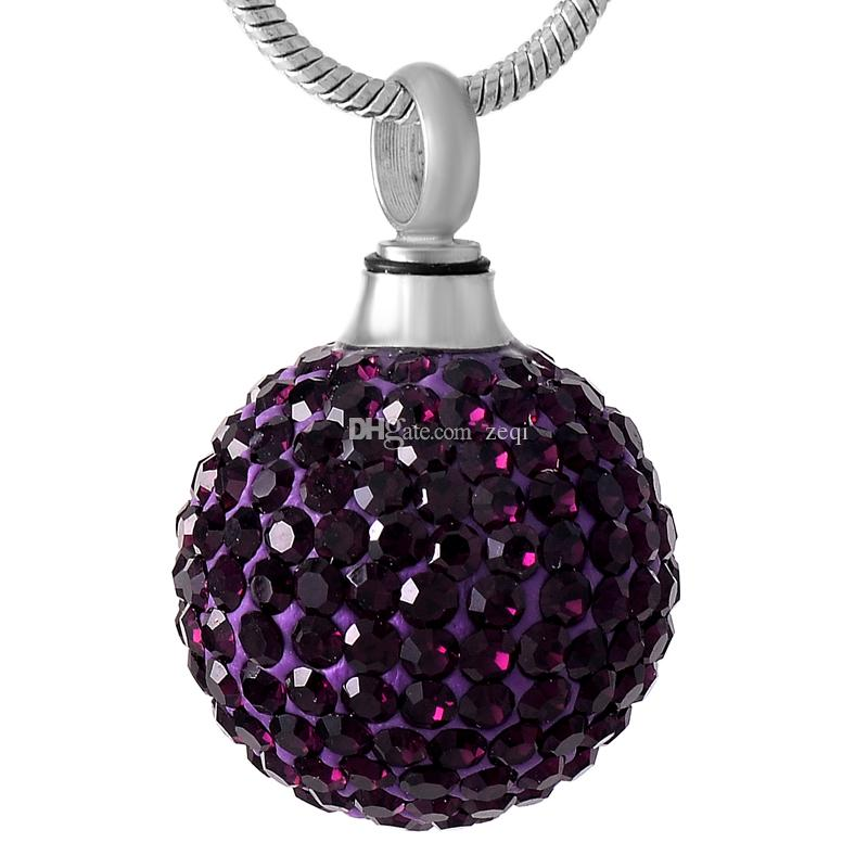 IJD8865 Purple Ball Crystal Stainless Steel Cremation Pendant Necklace Memory Ashes Keepsake Urn Stash Necklace