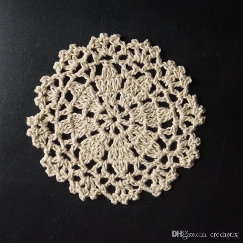 Freies Verschiffen häkeln Deckchen Tischdecke 10cm Handarbeit gehäkelte Blumen Baumwolle Deckchen Tasse Matte Becher Pad 20pcs / lot