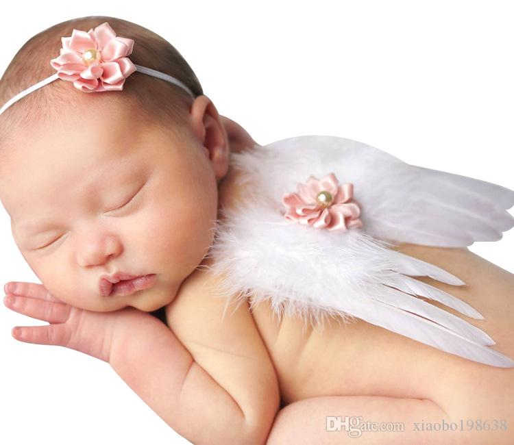 0-6M Newborn White Angel Photo Props Baby Girls Angel Wings Wing Set Feather Newborn Photography Props