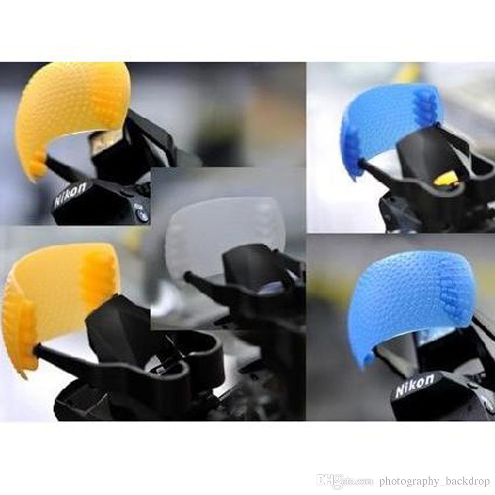 Nouveau 3pcs Puffer Pop-Up Flash Couverture De Diffuseur Souple Dôme pour Speedlite Canon Nikon Pentax Caméra DSLR Blanc Jaune Bleu Couleur