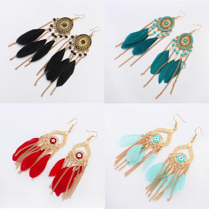 lustre boucles d'oreilles bijoux mode femmes bohême coloré plumes chaînes en plaqué or glands en alliage longue pendaison boucles d'oreilles gros ER736