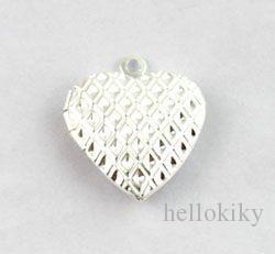 50PCS Patrón Heart SP Locket Colgante 20mm # 20407