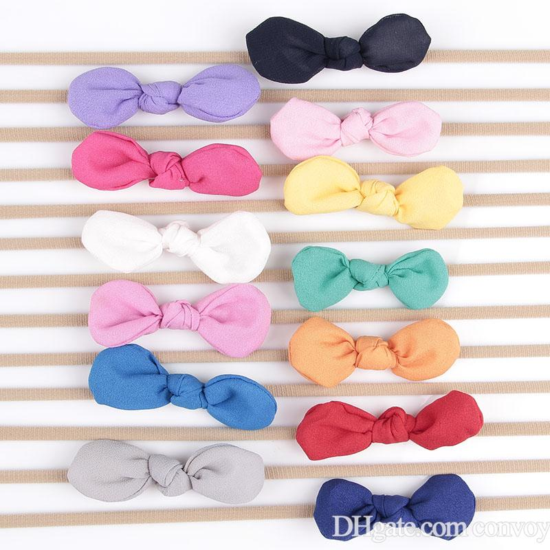 Newborn Baby Headbands Bunny Ear Elastic Headband Children Hair Accessories Kids Cute Hairbands for Girls Nylon Bow Headwear Headdress KHA92