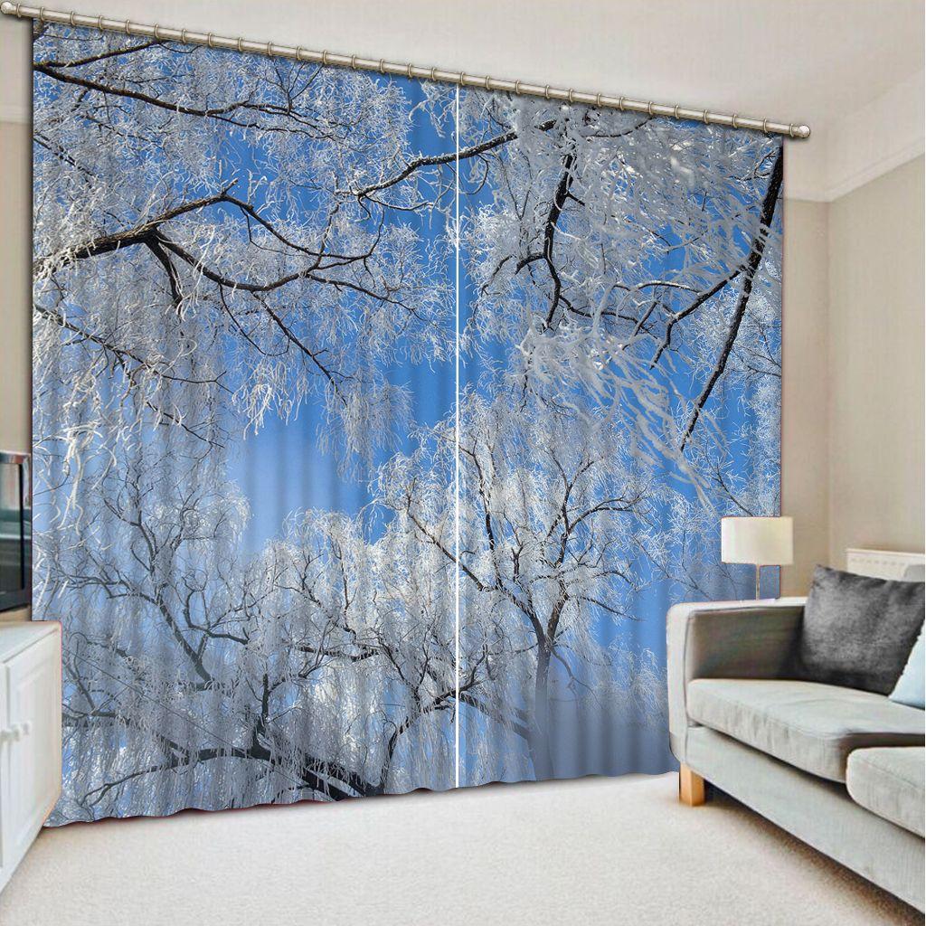 cortinas salón de invierno ventana de decoración de moda escenario hogar para el dormitorio