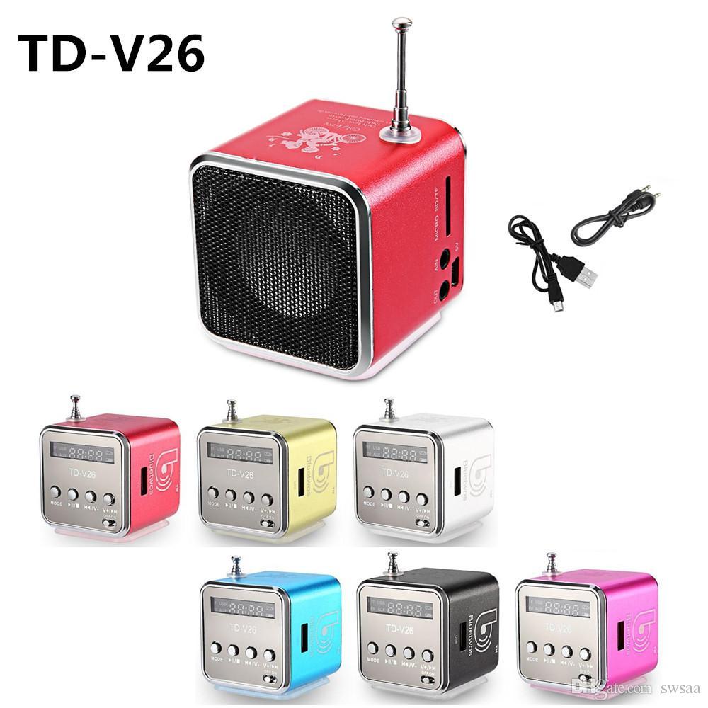 MOQ:20PCS Bluetwo TD-V26 Mini Speaker Portable Digital LCD Sound Micro SD/TF FM Radio Music Stereo Loudspeaker for Laptop Mobile Phone MP3