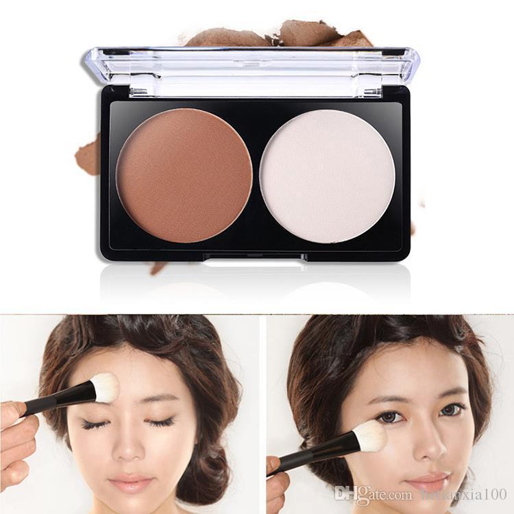 2 Cores Maquiagem Contour Shading Face Powder Concealer Palette Nude Fundação
