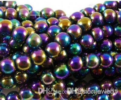 z94 горячий 8 мм 10 мм 200 шт. / лот серебро позолоченный многоцветный гематит круглый бисер бусины Шамбала свободный шарик бусины Шамбала i352