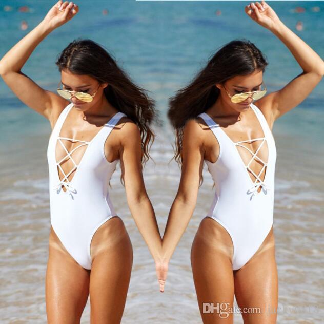 Вырезать строку один кусок купальники женщины треугольник спинки купальники лето бразильский купальный костюм боди черный белый красный XL
