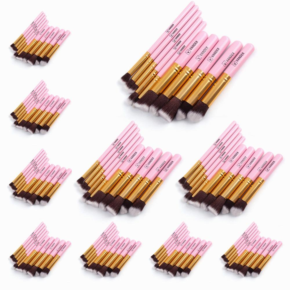 10Sets 10pcs/set Pink Golden Makeup Brushes Kits Kabuki Cosmetics Make Up Tools For Powder Foundation Eyeshadow Lip