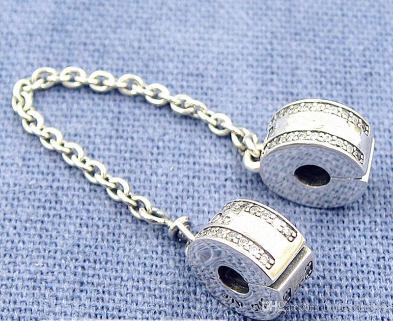 2017 frühling 925 sterling silber insignien sicherheit kette clip charme perle mit cz passt europäischen pandora schmuck armbänder halsketten anhänger
