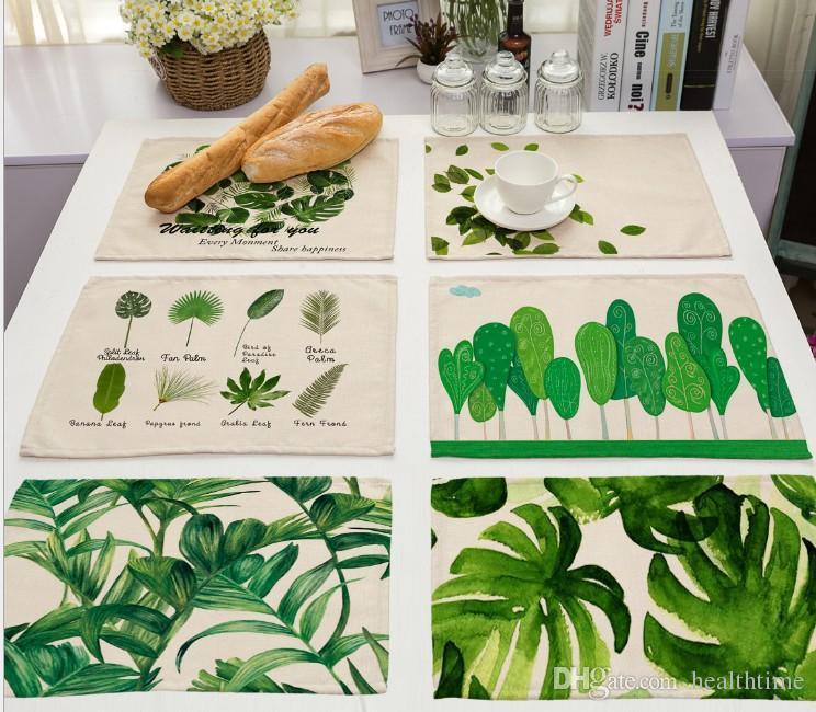 Оптовая Tropcial деревья салфетка хлопок белье растения рисунок стол коврик посуда подставки для ужина аксессуары Кубок вино мат