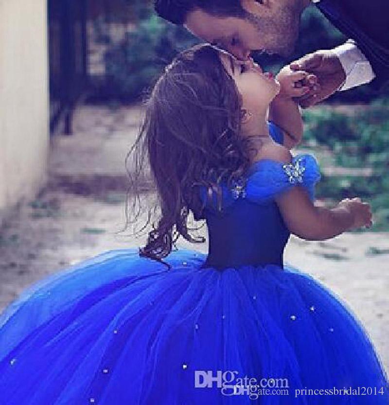 Compre Vestidos Largos De La Princesa Cenicienta Niña De Las Flores Fuera Del Hombro Vestido Largo De La Longitud Del Piso Vestido Azul Real Niños
