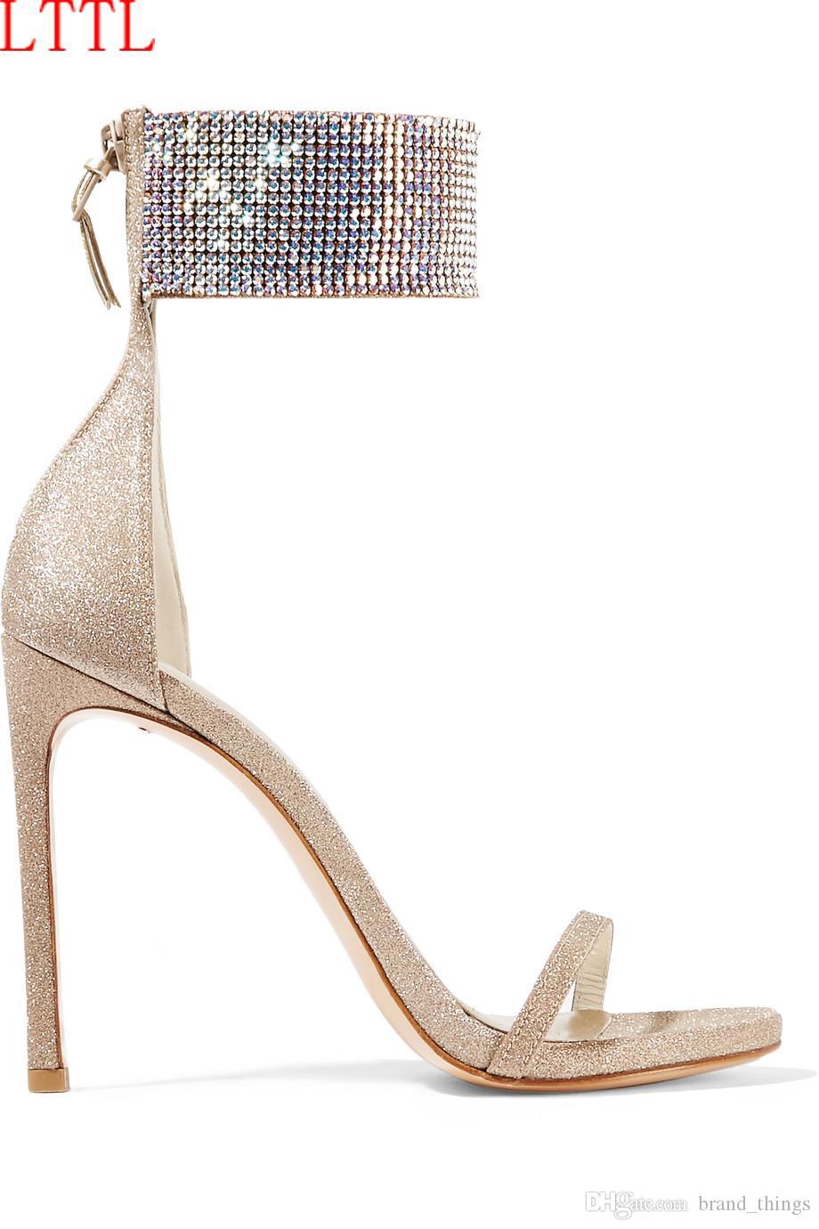 2017 neue mode strass high heels sommer gladiator sandalen offene spitze hochzeit schuhe dünne ferse glitter pailletten goldene sandale
