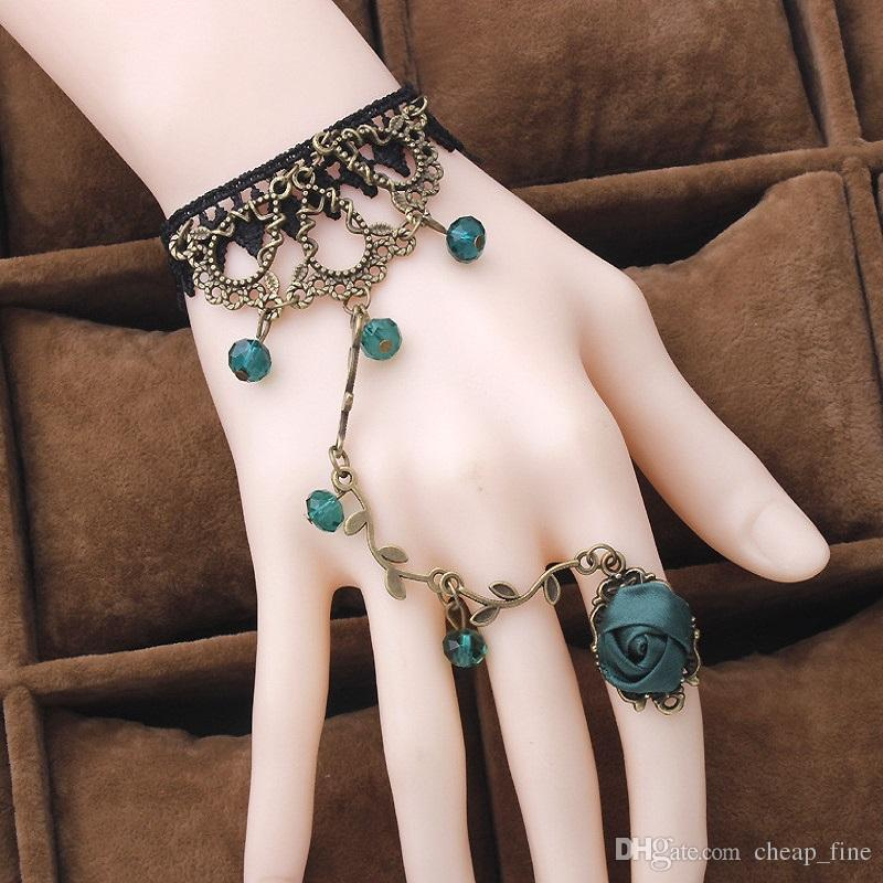 Vintage Lace Flower Bracelet Ring Two Kind Usage Merge 2in1 Conjoined Siamese Long Bracelets Integrated Chain 6 Colors