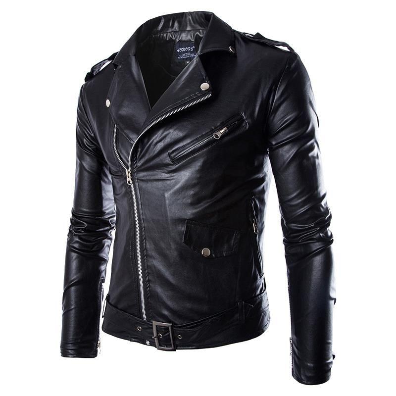 Homens Moda PU Leather Jacket Primavera Outono New britânica Estilo Homens Jaqueta de couro da motocicleta jaqueta masculina Casaco preto Brown M-3XL
