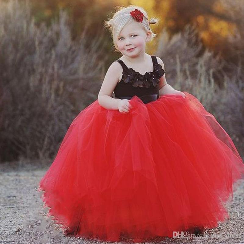 Rosso e nero principessa Flower Girl Dresses 2019 abiti da prima comunione piano lunghezza tulle ball gown abiti per bambini bambino pageant abiti f050