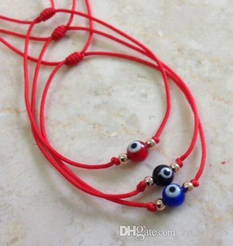 20Pcs Nylon Evil Eye Red String Kabbalah Bracelet Gold Bead Good Luck Charm Protection Cuff Bracelets Bangle Jewelry Gift Punk Accessories