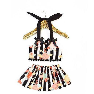 Wholesale- Cute Infant Baby Girl Clothes Floral Backless Tops+Skirts Dress 2pcs Outfits Set