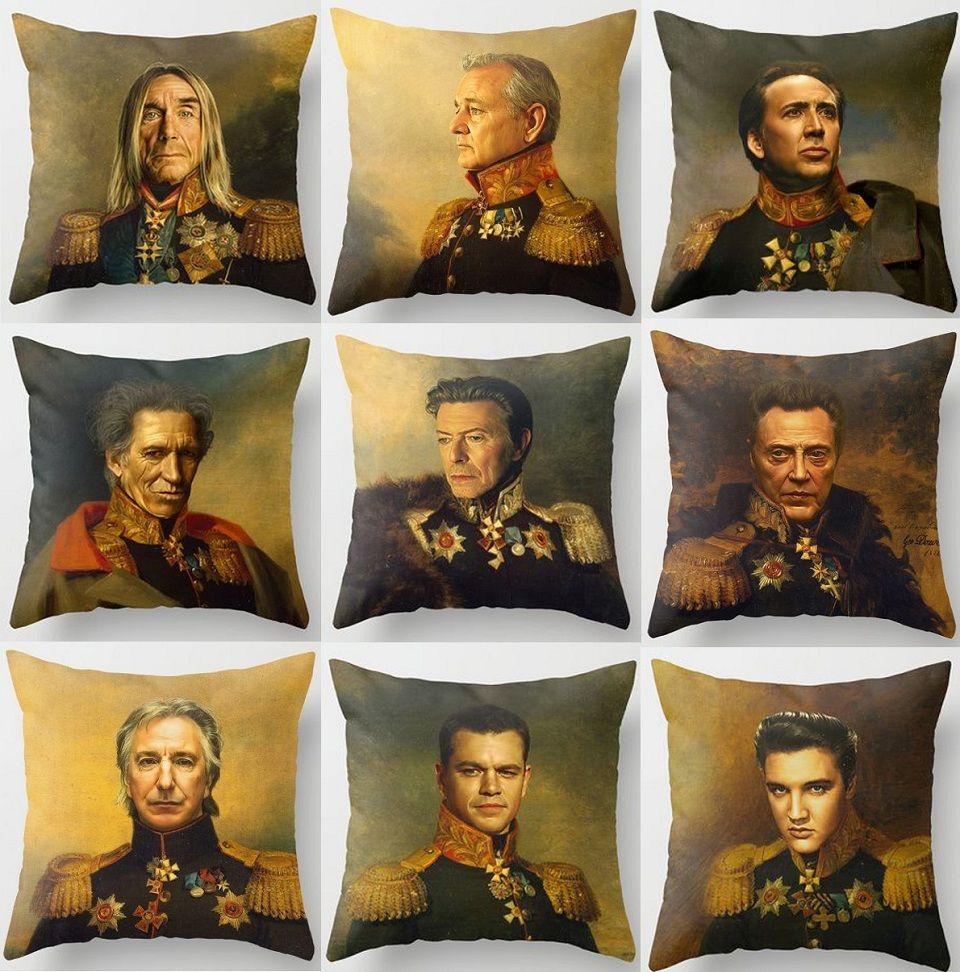 39 Styles Célébrités Faces Housses De Coussin Vintage Européen Bill Murray David Bowie Housse De Coussin Nicolas Cage Art Canapé En Lin Taie D'oreiller