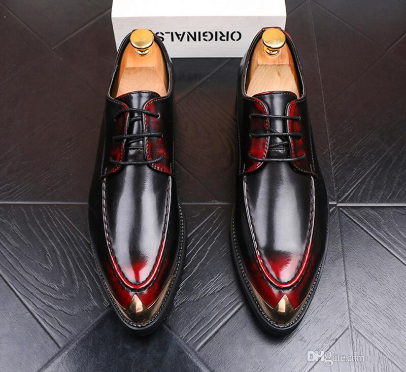 Genuine Leather Men Dress Shoes, Wine