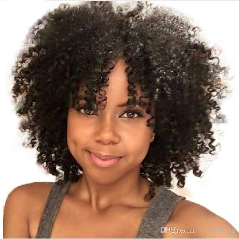 Venta caliente afro corto rizado pelucas llenas simulación del pelo humano rizado peluca rizada envío gratis en stock