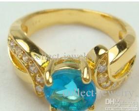 Sapphire Crystal 14K Żółty złoty pierścień # 8
