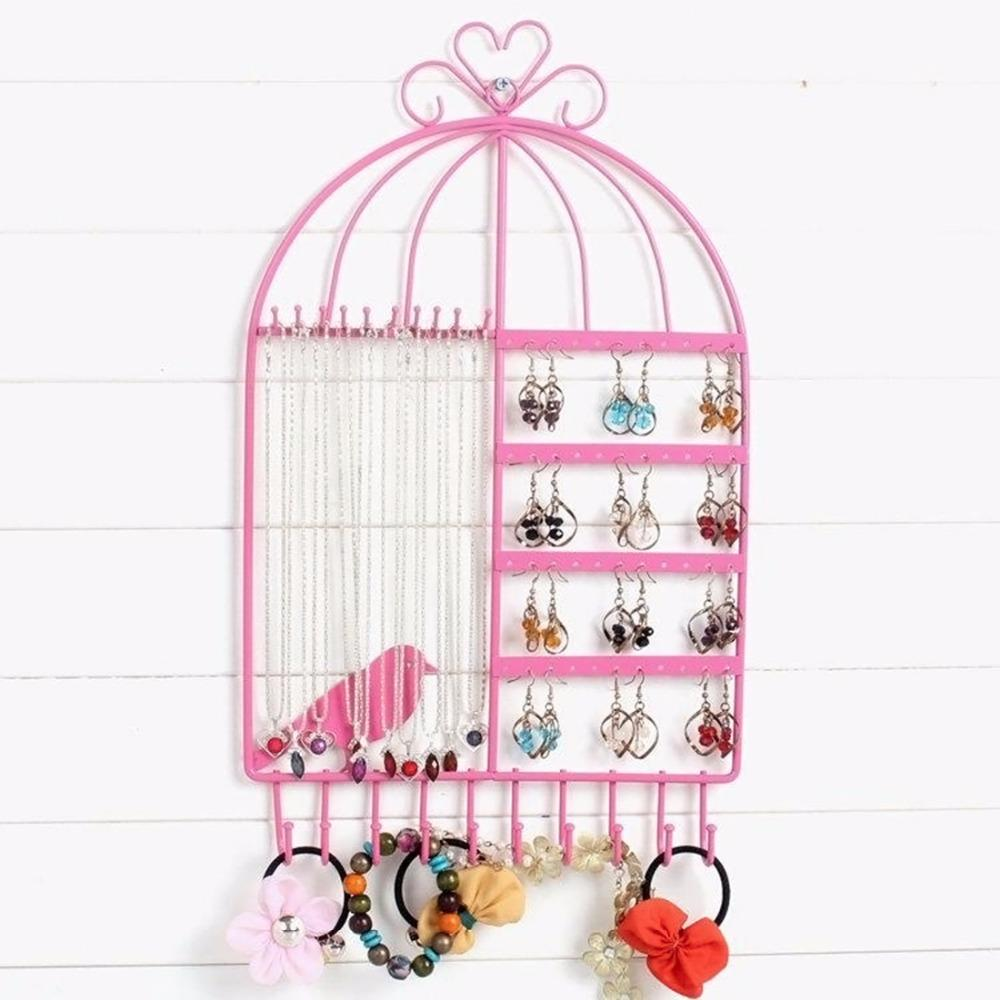 Wall Mount Birdcage Shaped Earrings Necklace Bracelet Stand Holder Hanger Organizer Neck Jewelry Easel Showcase Display