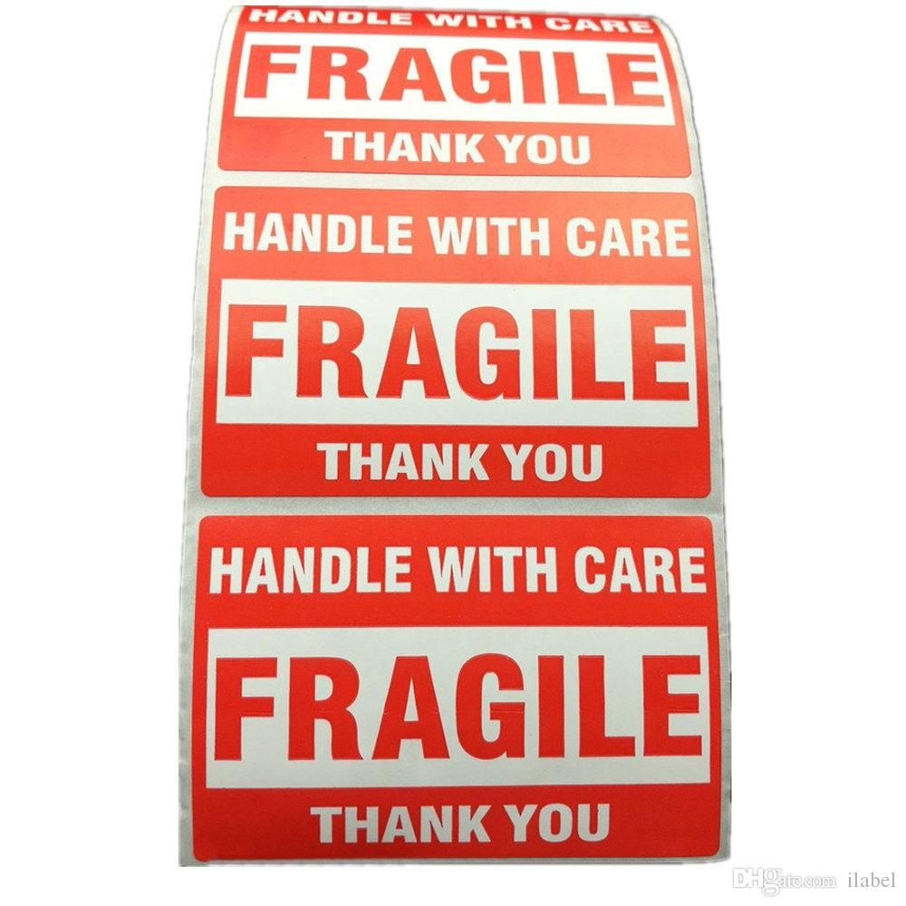 500pcs embalagem aviso stikcer pega frágil com cuidado com obrigado etiqueta de envio adesivo 1 rolo 2x3 polegadas (51 x 76mm)