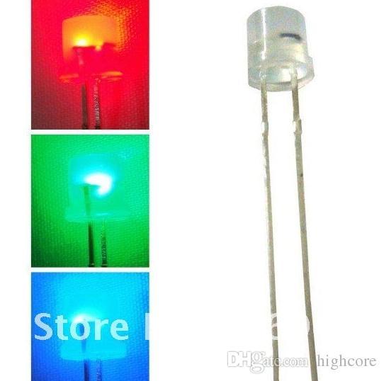 1000pc 5mm RGB Flat Top Diffusa LED a cambiamento di colore lento