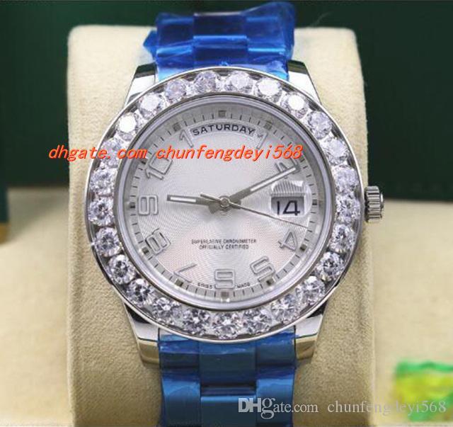 최고 품질 럭셔리 손목 시계 18k 화이트 골드 41MM 자동 무브먼트 빅 다이아몬드 시계