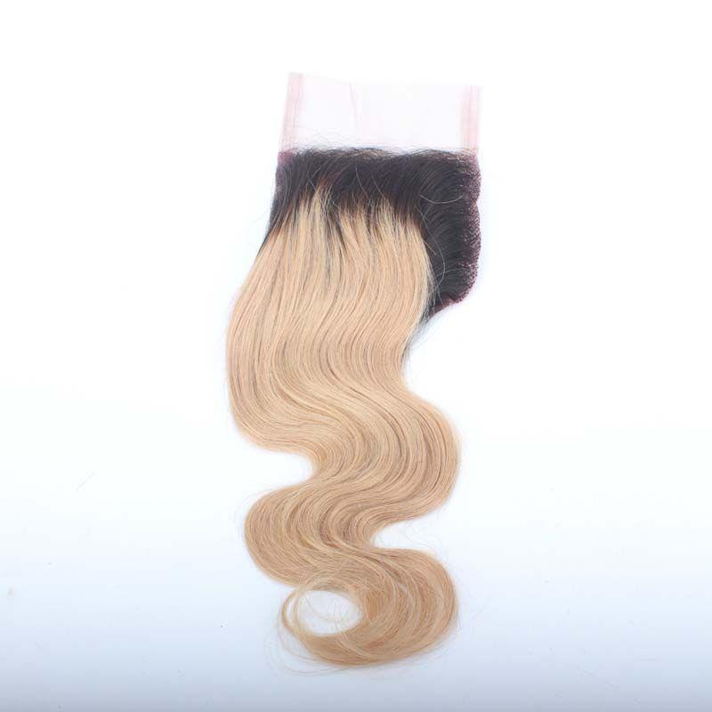"Dark Roots # 1B / 27 Ombre Blonde Chiusura peruviana dei capelli Body Wave 4 ""x 4"" Hight Denisty Swiss Lace Top chiusura dei capelli umani"