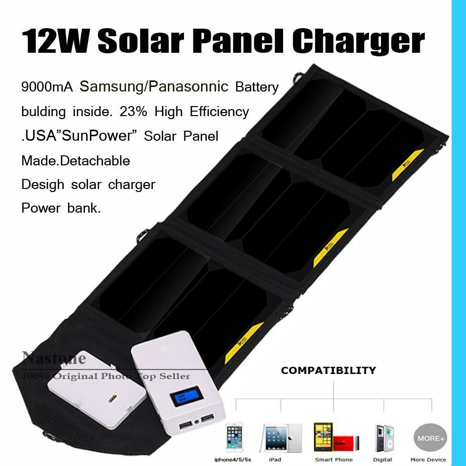 2016 الجيل الجديد انفصال لوحة للطاقة الشمسية شاحن قوة البنك 9000mA سامسونج / Panasonnic البطارية مع الولايات المتحدة الأمريكية SUNPOWER لوحة للطاقة الشمسية قابلة للطي