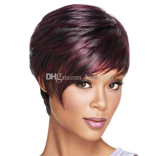 Cheap Short Bob Wig Straight Fluffy Dark Red Wine Burgundy Synthetic Hair Wigs Side Bang Wig for Women