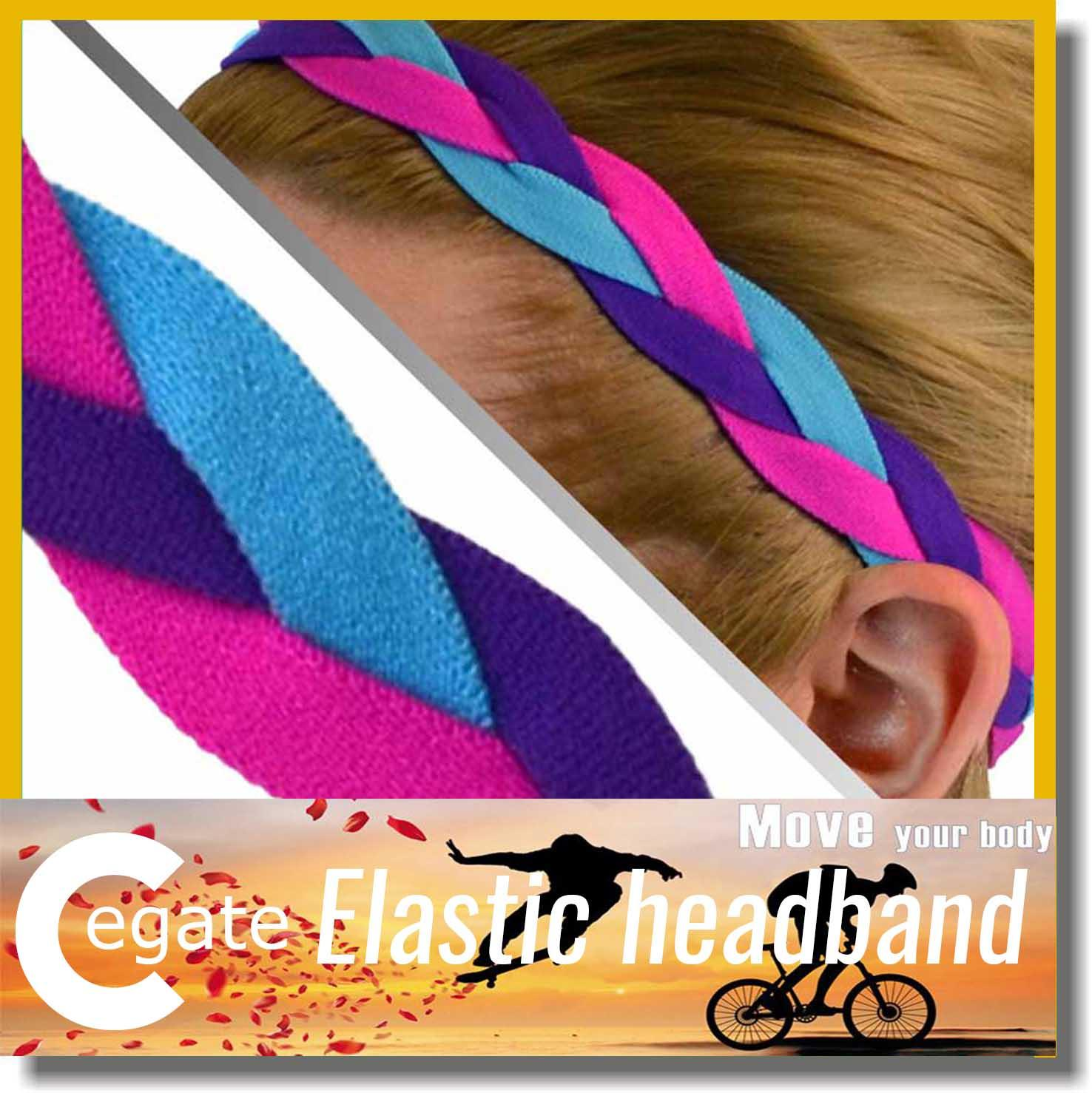 Wholesale 100 pieces lot Color Triple Braided Headband with Non slip grip for Softball