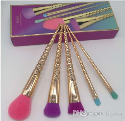 unicorn makeup brushes rose gold. tarte makeup brushes sets cosmetics brush 5 bright color rose gold spiral shank make-up unicorn