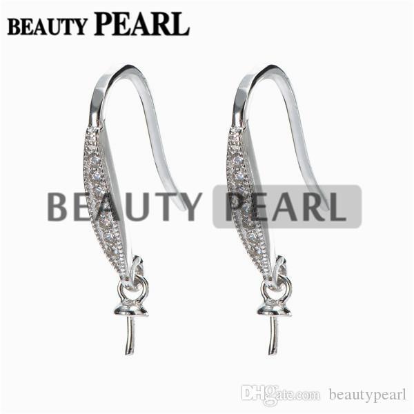 Earrings 925 Sterling Silver Zircon Hook Earrings Findings DIY Jewelry Making for Drop Pearl 5 Pairs
