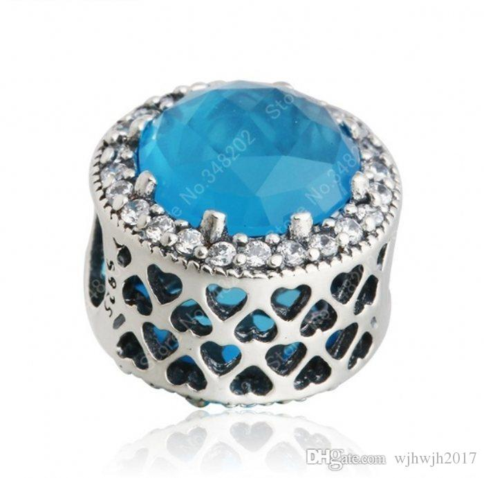 Fits European Charm Bracelets Sky Blue Crystal Radiant Hearts Charm Beads Real 925 Sterling Silver Clear Crystal Heart Bead Fine Jewelry