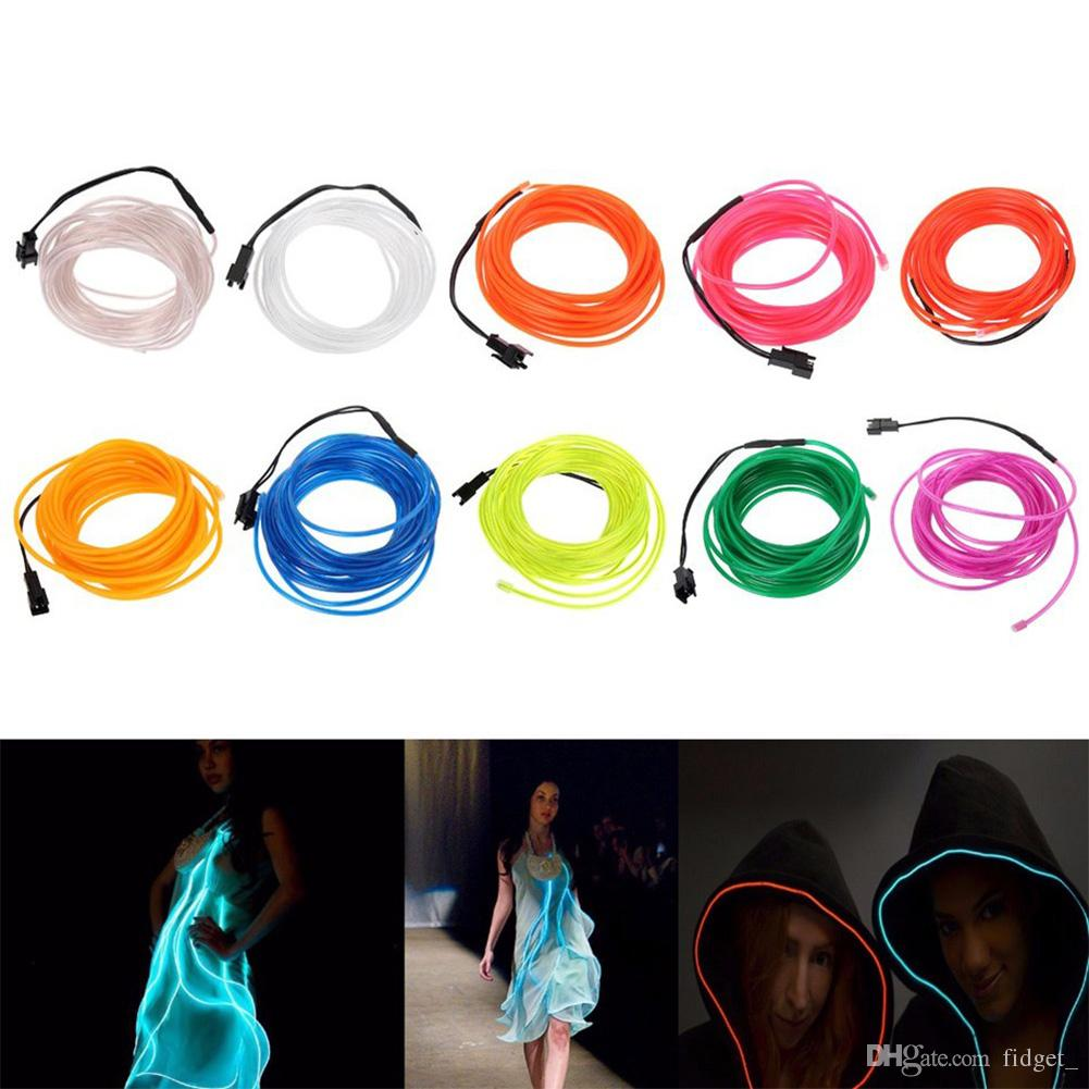 TSLEEN 5M Bendable EL Wire LED Lights Neon Battery Power Rope Strip ...