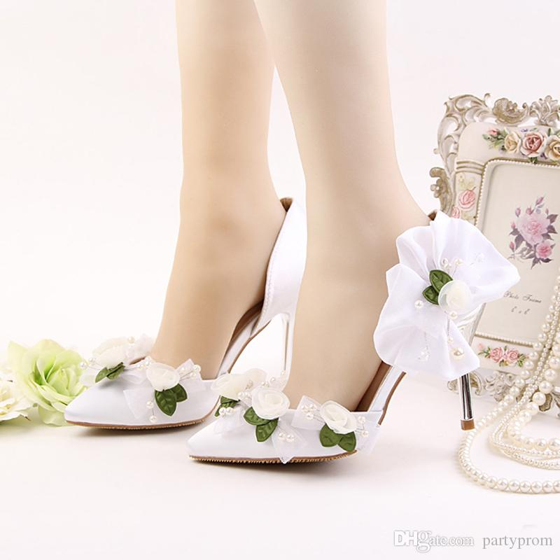 White Satin Wedding Shoes Pointed Toe Flower Bridal Dress Shoes Women Summer Sandals Bridesmaid Shoes Party Prom Pumps