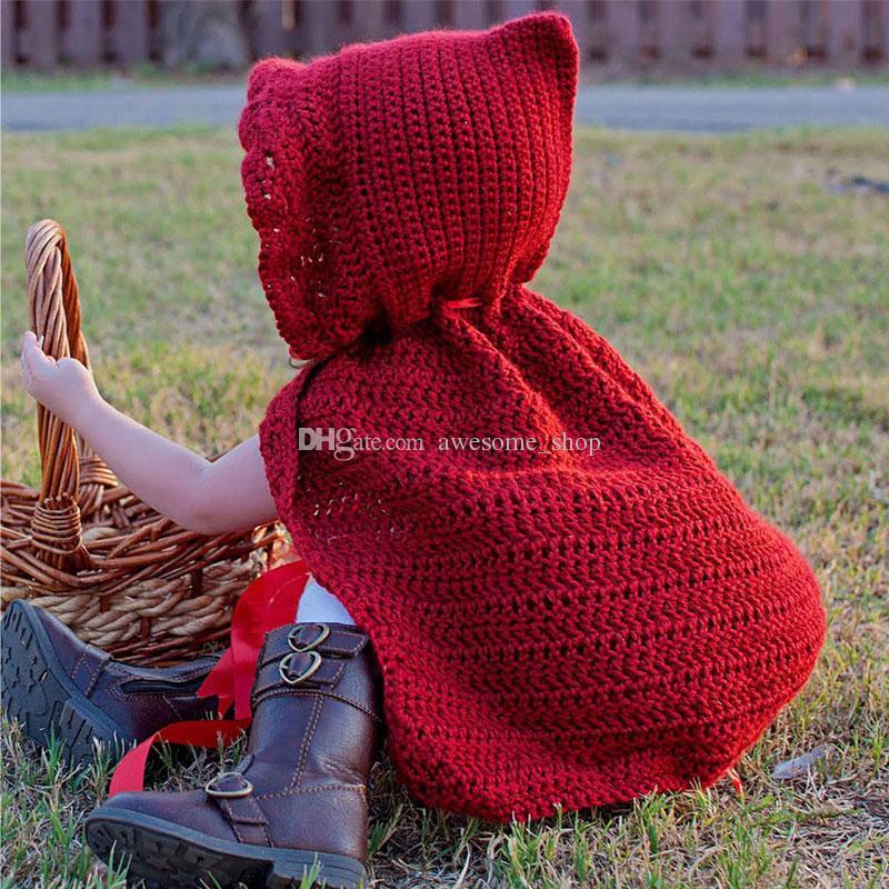 Super Cool Little Red Riding Hood Cape,Pure Handmade Knit Crochet Baby Girl Halloween Costume,Newborn Infant Toddler Photography Prop