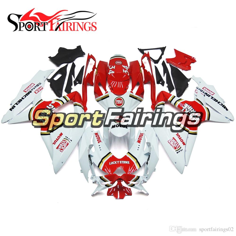 Complete Fairings For Suzuki GSXR600 K8 2008 2010 GSXR750 08 09 10 ABS Plastic Botcle Body Work White Red Gold Circle Lucky Strike