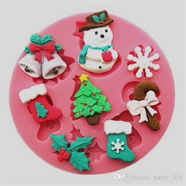10PCS/LOT, Christmas tree Snowflake Bell Fondant Cake Chocolate Cookies Sugarcraft Mold Cutter Silicone Mould Bake Tools DIY Hot Sale!